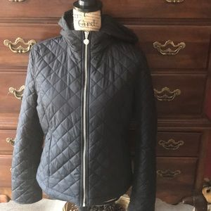 Black quilted zipper front jacket